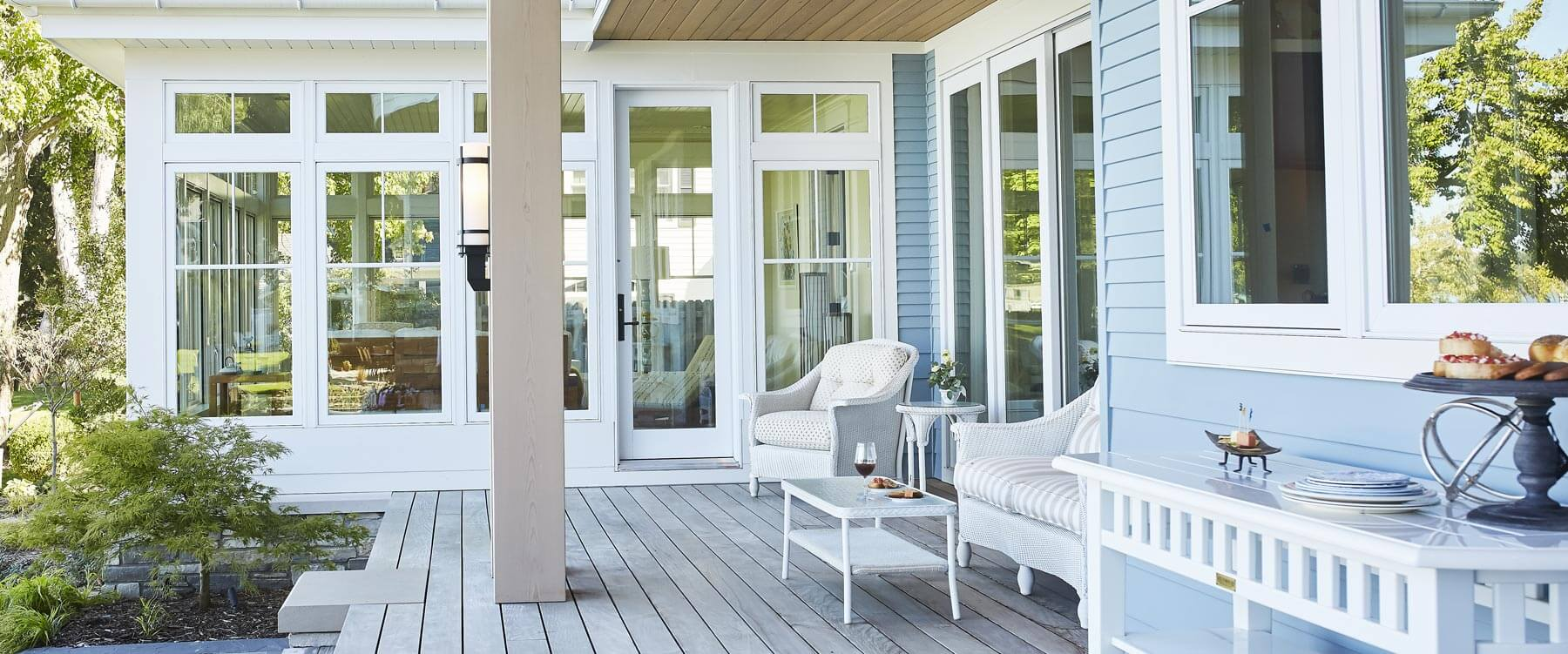 Lakefront cottage exterior deck