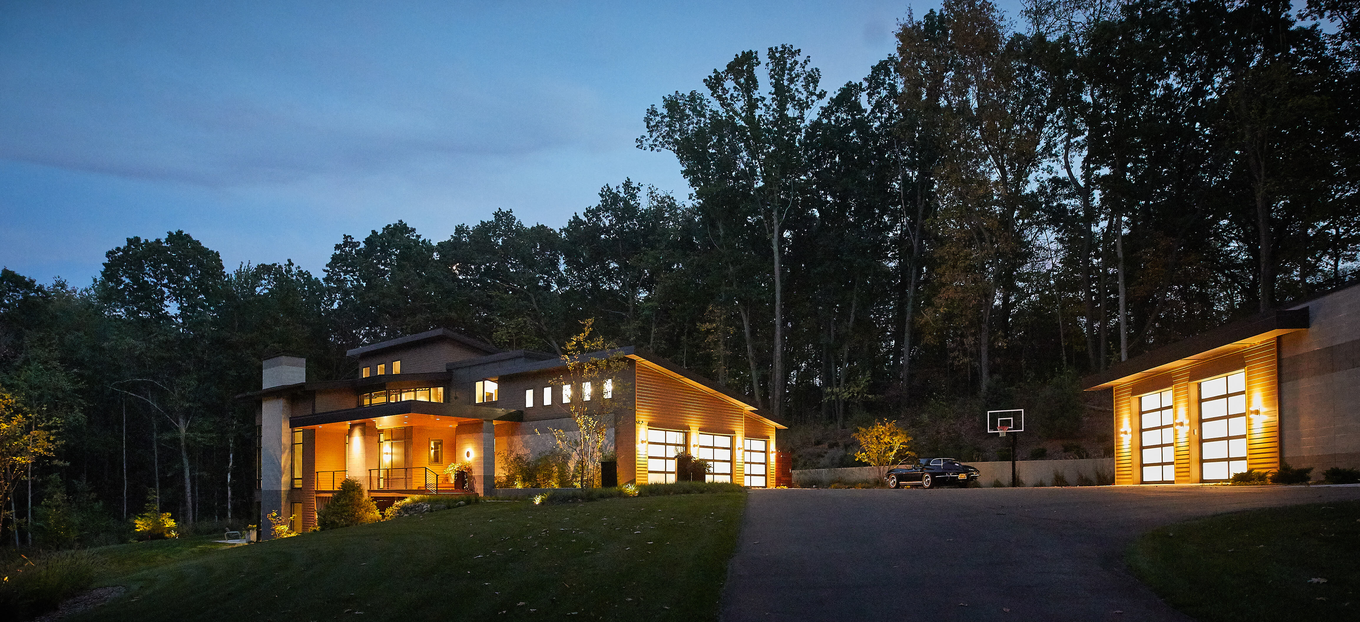 Modern home in the woods front exterior
