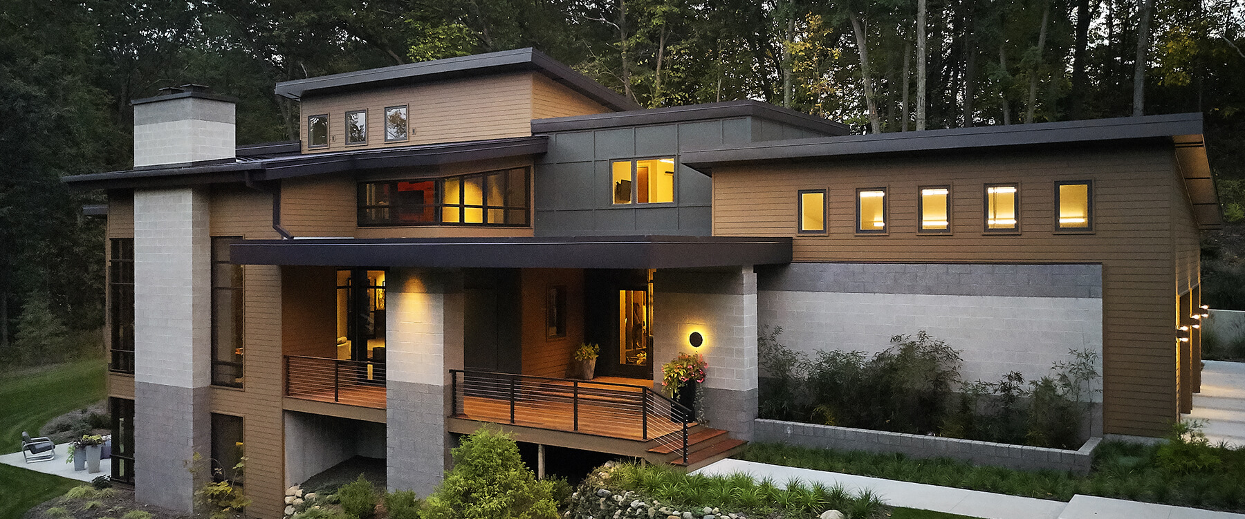 Modern home in the woods exterior view