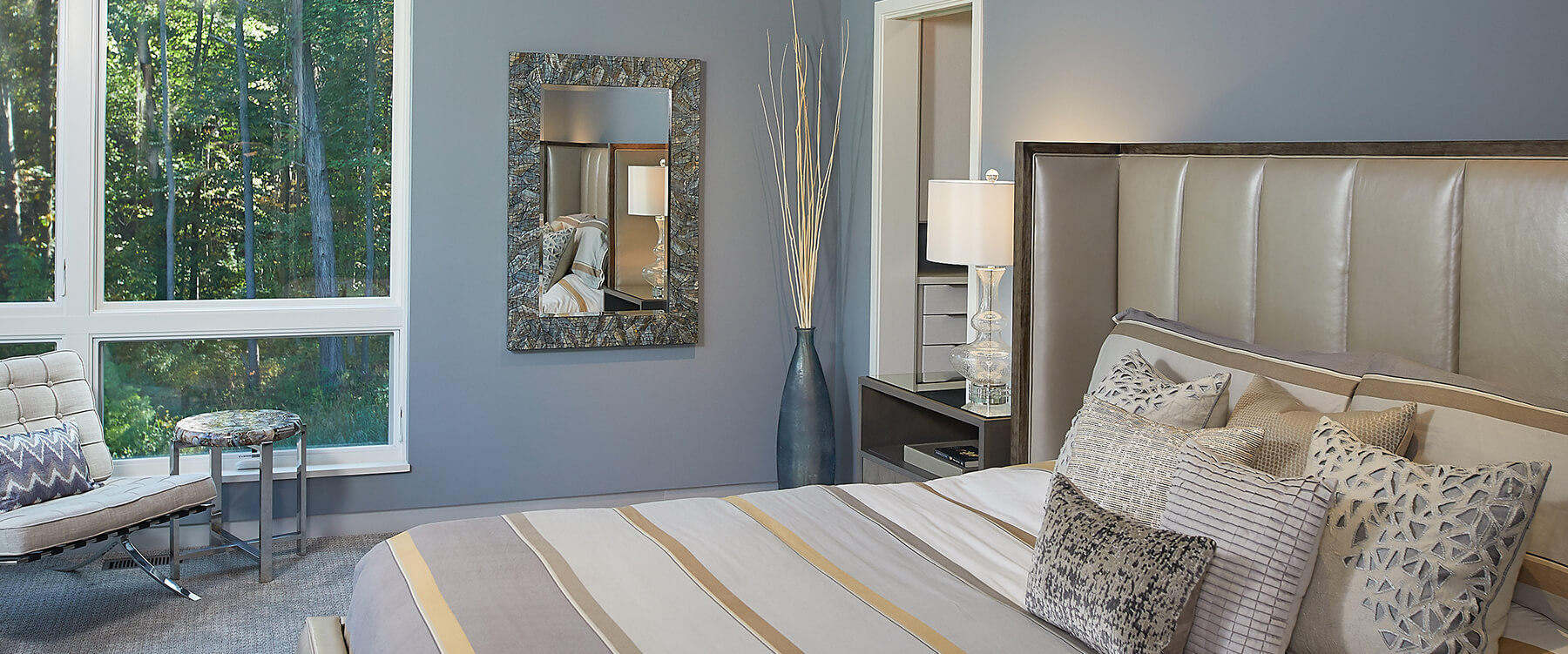 Modern home in the woods interior bedroom