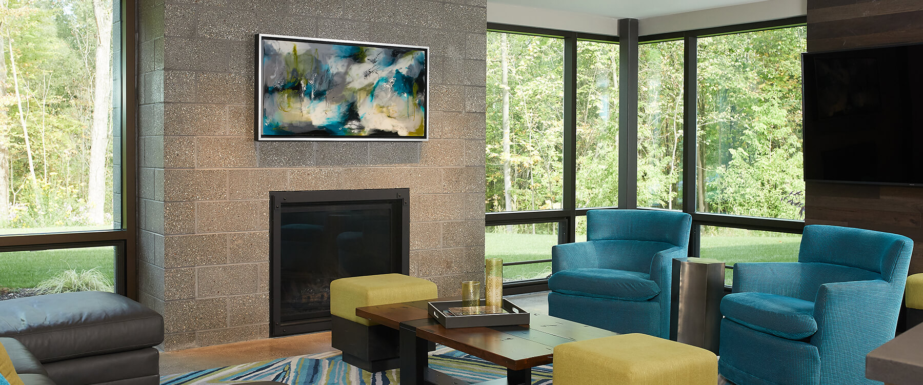 Modern home in the woods interior family lounge