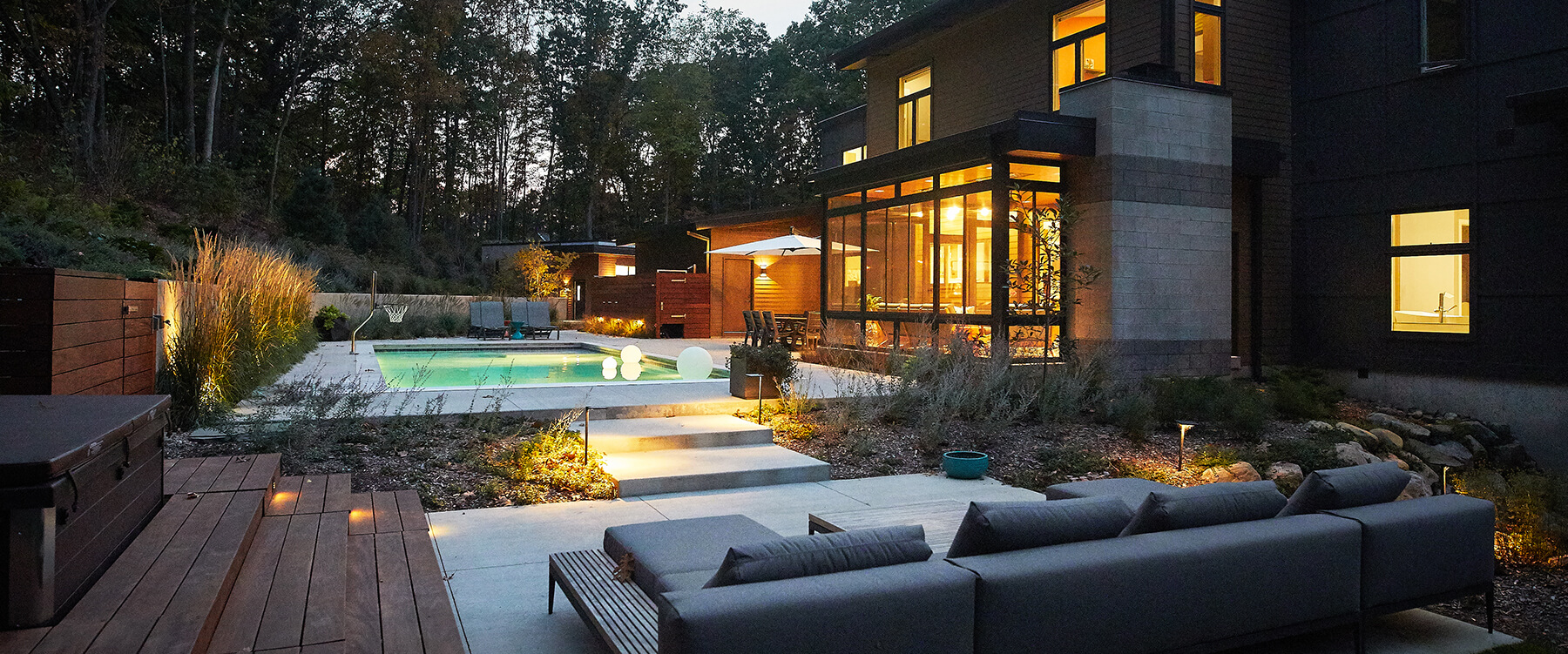 Back exterior with pool