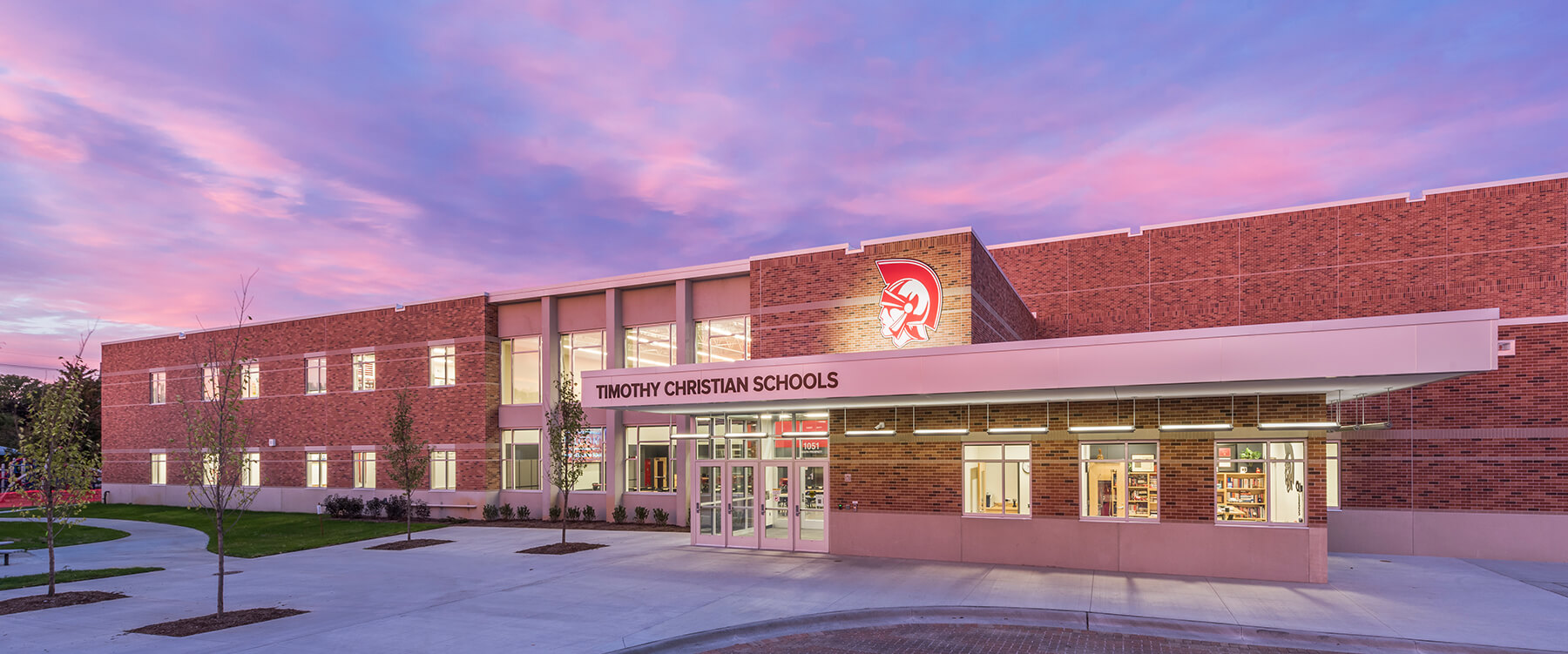 Timothy Christian Middle School exterior at dusk