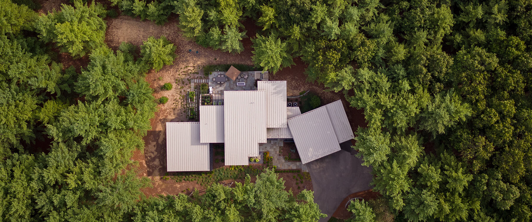 drone image of Contemporary Michigan Home