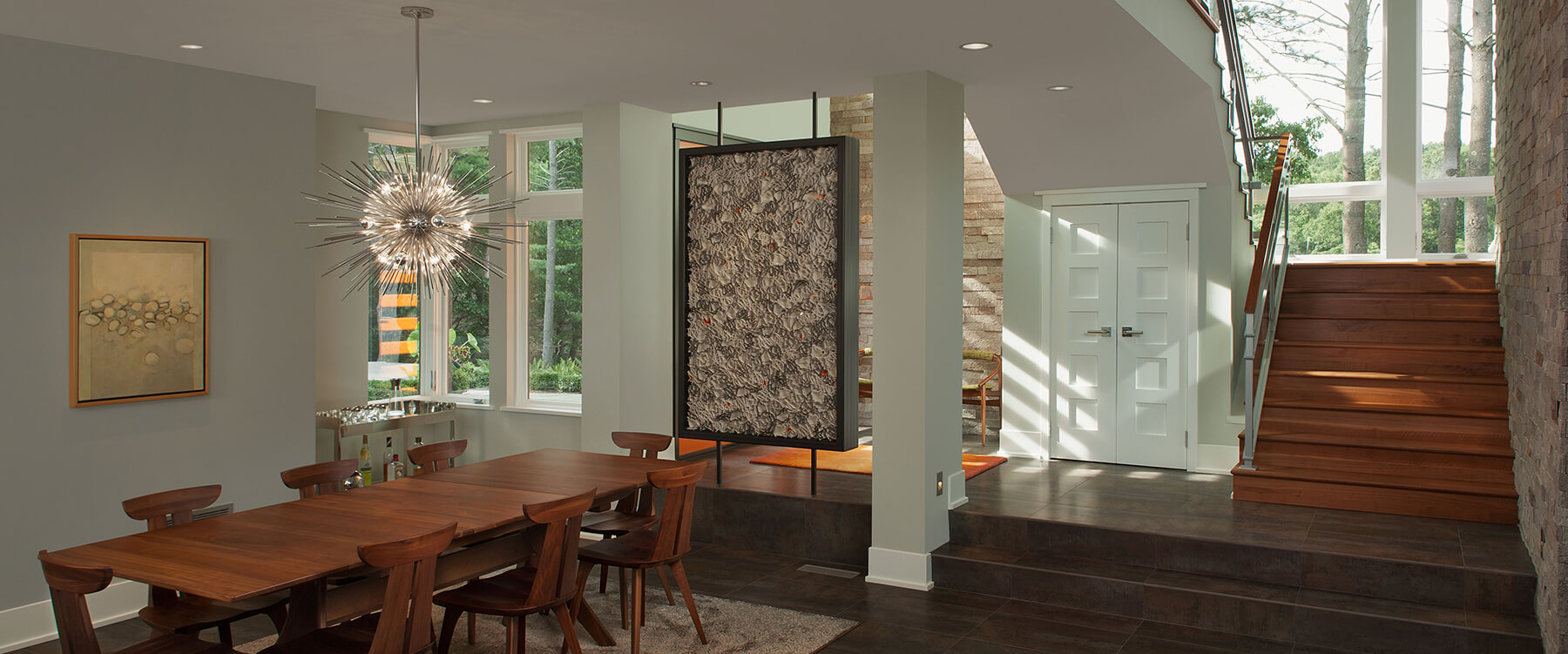 dining room at Contemporary Michigan Home