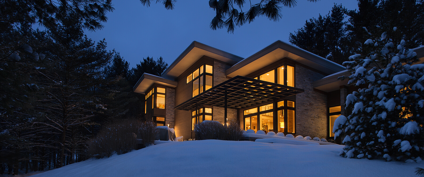 Winter exterior of Contemporary Michigan Home