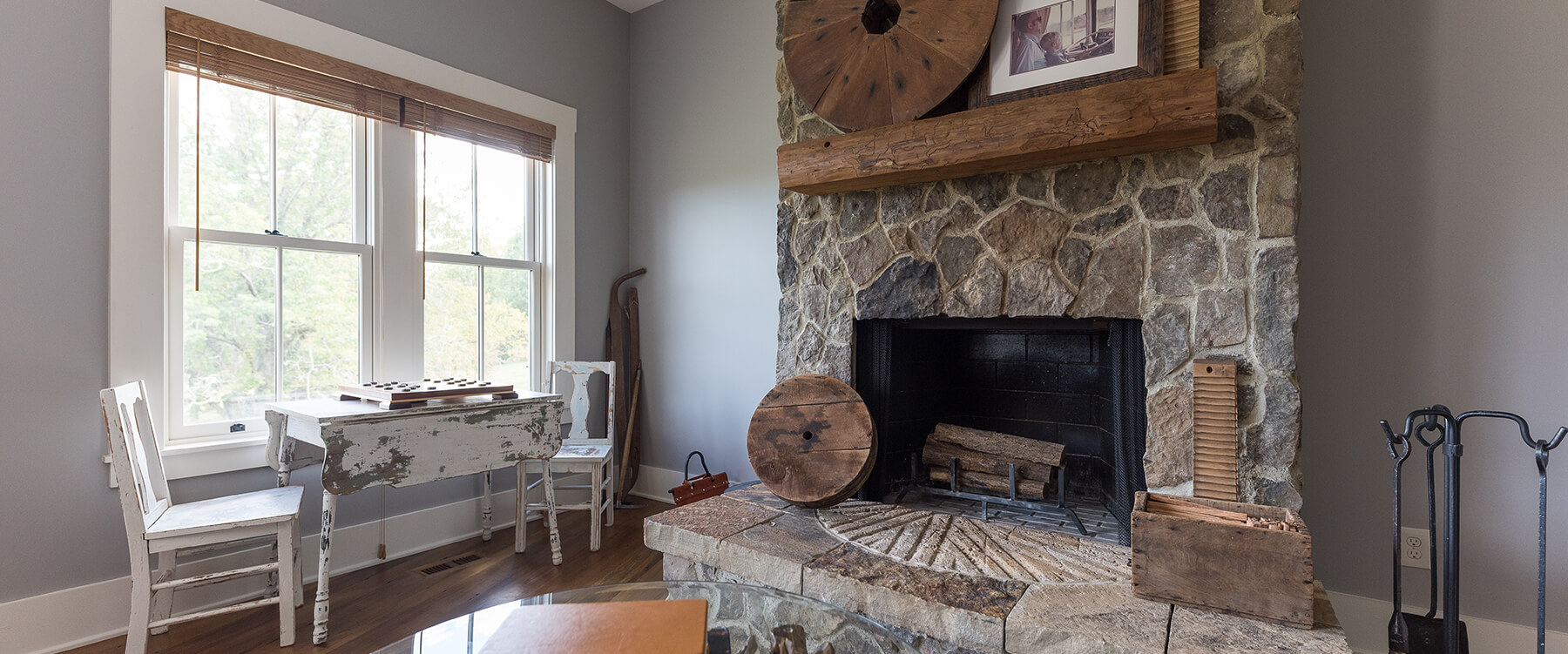 Private residence millstone fireplace