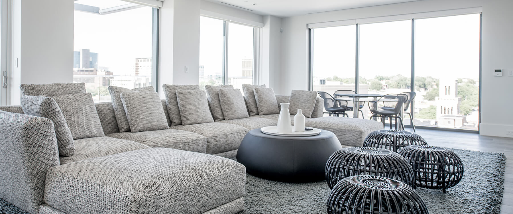 Living room at urban penthouse