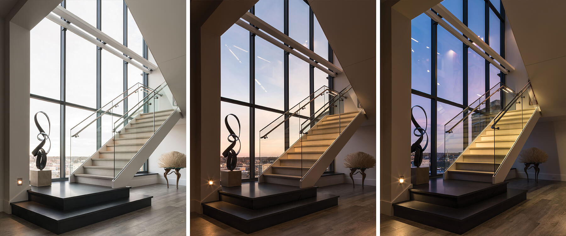 Stair at urban penthouse