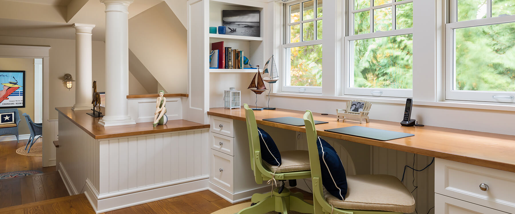 homework desks at shingle style cottage