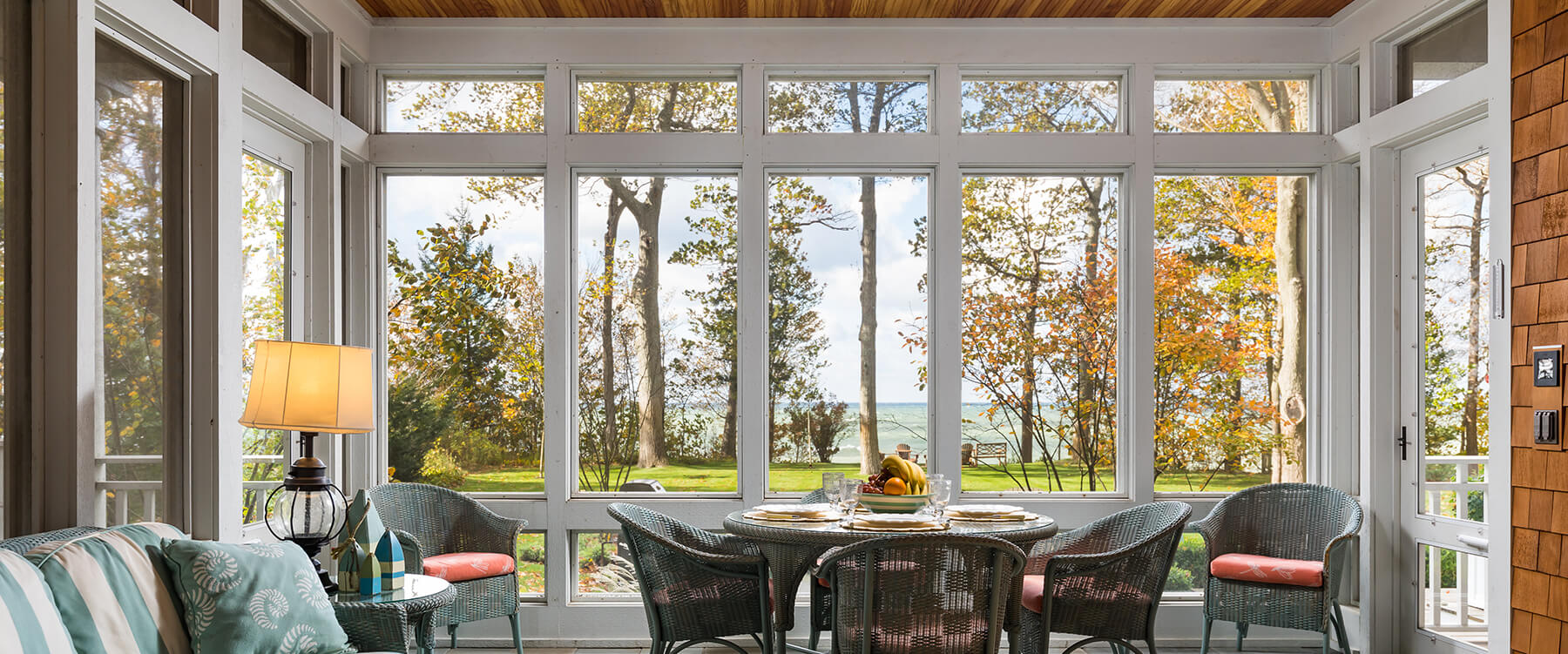 sunroom at shingle style cottage