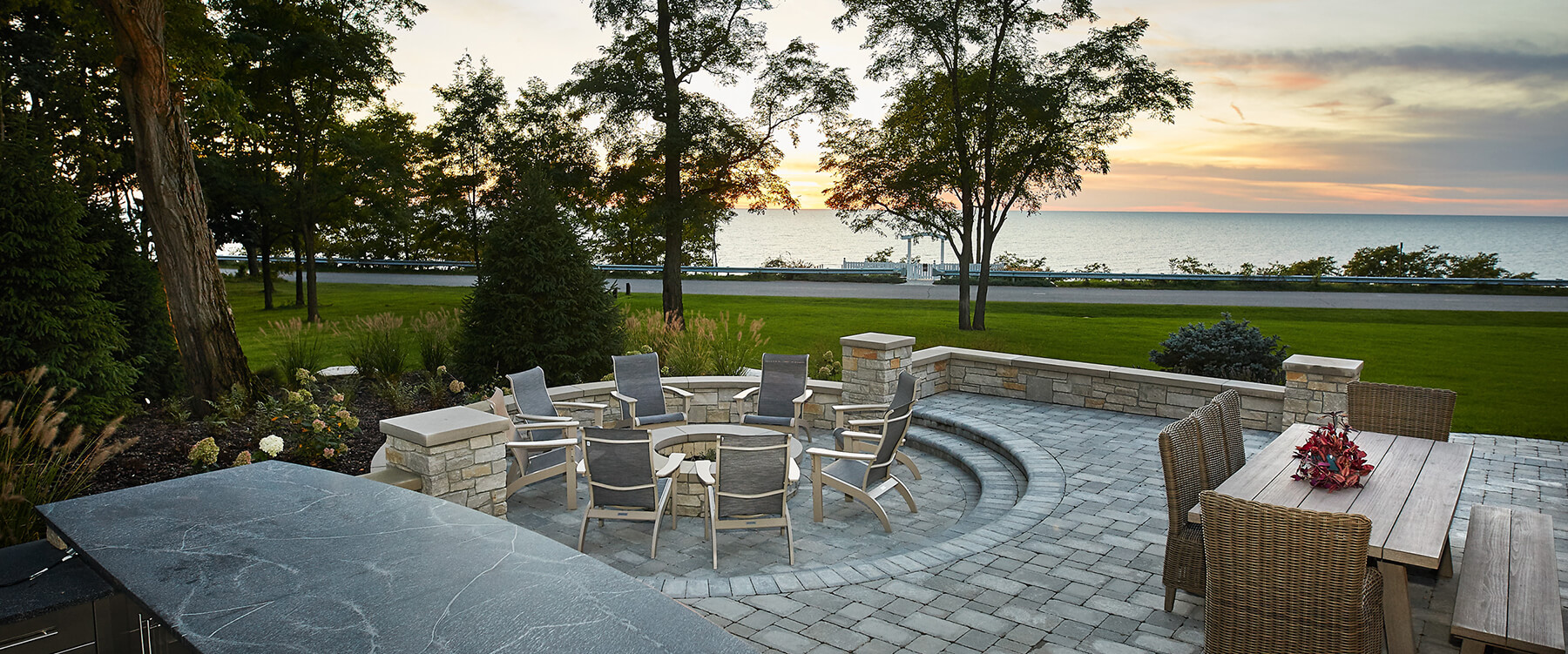fire pit at Lake Michigan retreat