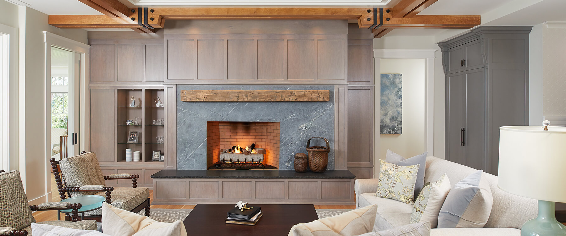 Lakefront cottage fireplace