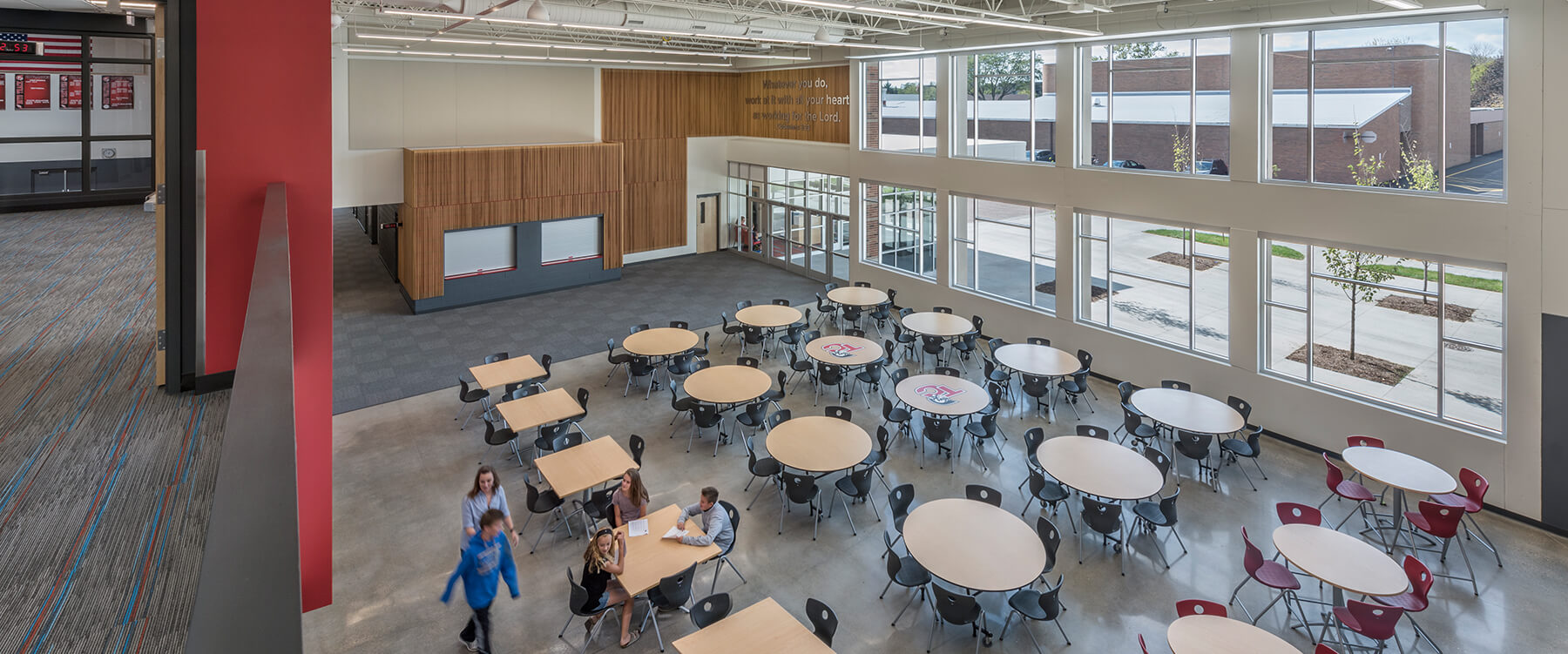 lunch room and gathering space at Timothy Christian Middle School